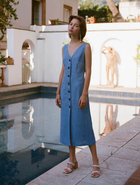 PALOMA WOOL Alberti Button Front linen summer dress