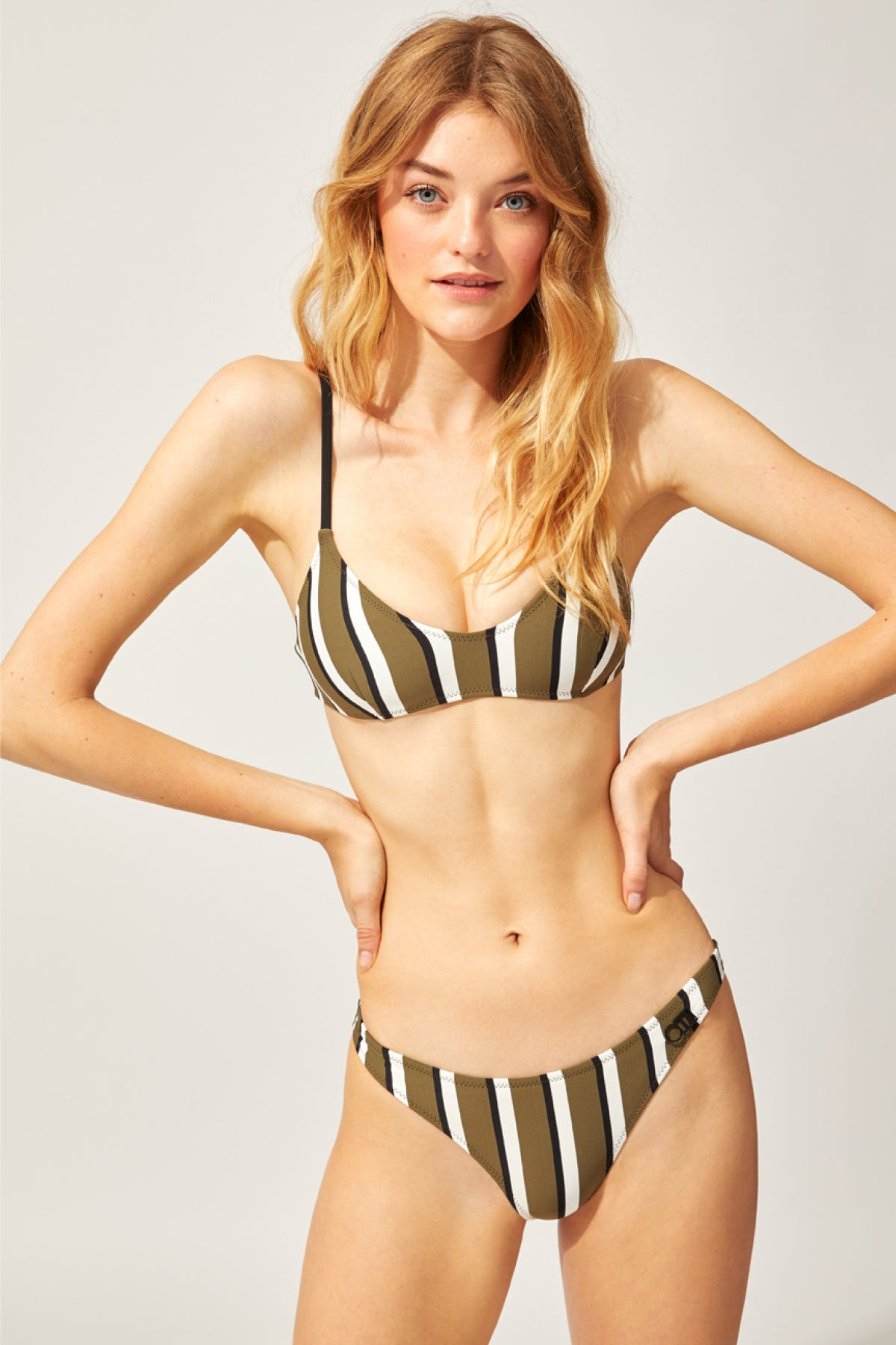 The Rachel Bikini Top Solid & Striped Swimwear - Olive, cream & black stripe