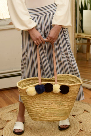 BAIAE Pompom Palm Leaf Basket Tote in Cool