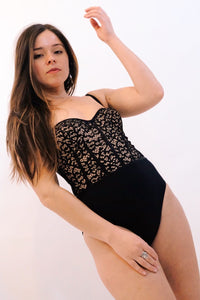 Lace Bustier One Piece - Black
