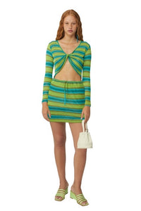 PALOMA WOOL |  Javier Striped Knit Skirt - Cyan Blue and Green