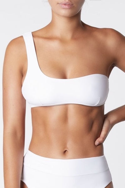 IT'S NOW COOL Swim Asymmetric One Shoulder Bikini Top White