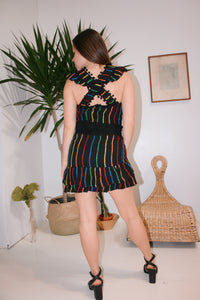 Vintage Inspired Embroidered Rainbow Stripe Mini Skirt - Black