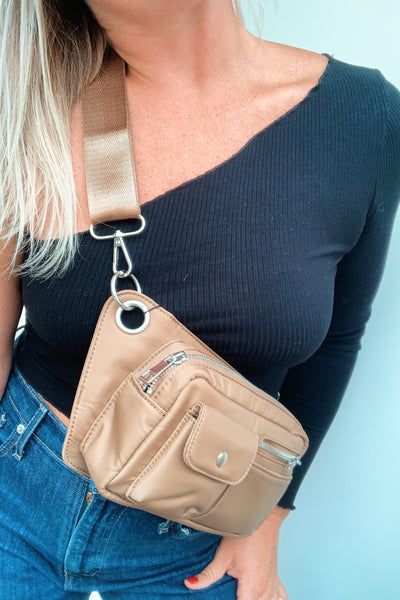 Brillay Waist and Cross Body Bag - Mushroom beige