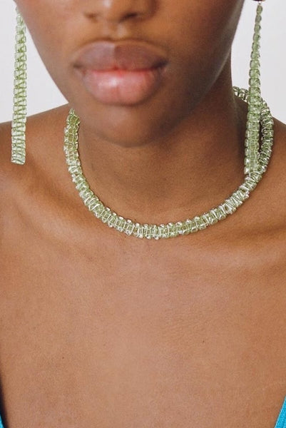 PALOMA WOOL | Prin Crystal Necklace - Lime Green