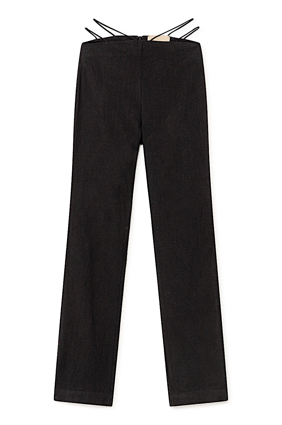 Amber Linen Cotton Strappy Waist Pants - Black