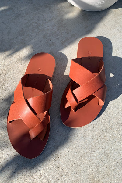 KYMA | Skyros Criss Cross Sandals - Terracotta