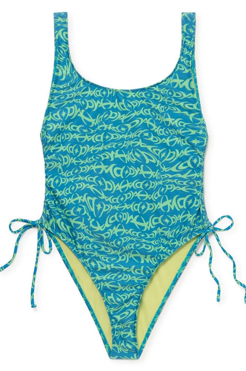 Phelps Tattoo Print One Piece Swim Suit - Light Blue