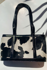 Juanita II Top Zip Cow Bag - Black and White