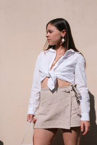 Cotton Button Up Shirt - White