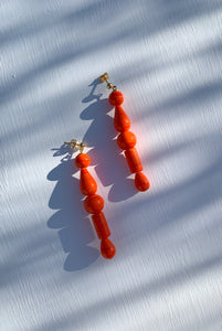 PALOMA WOOL | Lori Dangling Crystal Earrings - Fluorescent Red-Orange