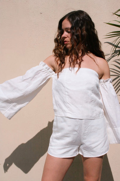 SIR the Label | Bell Sleeve Linen Top - Pearl White