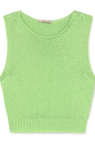 Jigglypuff Open Back Knit Tank Top- Green Fluor