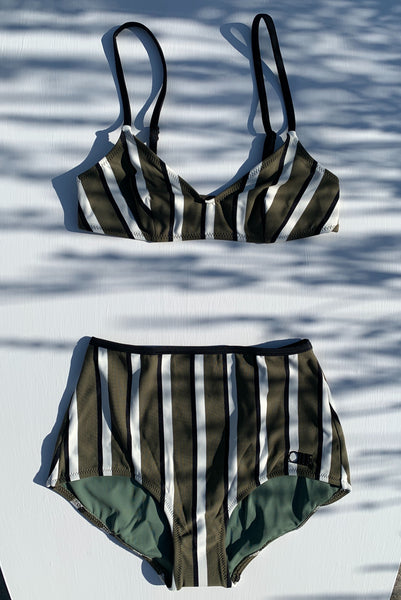 SOLID & STRIPED | Rachel Bikini Top - Olive, Cream & Black Stripe