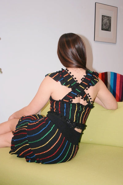 Vintage Inspired Embroidered Rainbow Stripe Top - Black