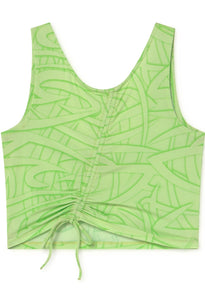 Cutie Shirred Drawstring Top - Green Fluor
