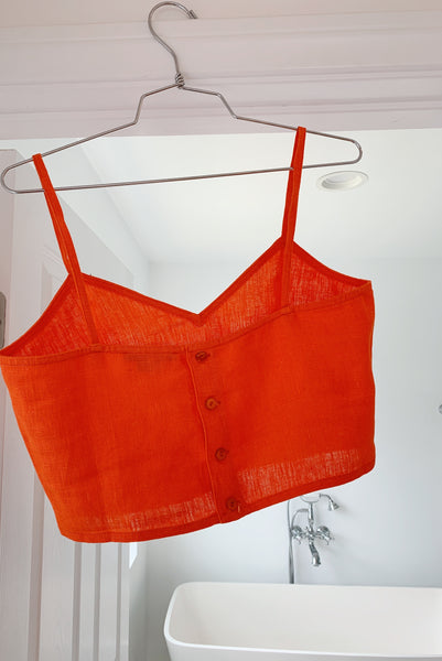 PALOMA WOOL | Cairo Spaghetti Strap Linen Tank Top - Fluorescent Red-Orange