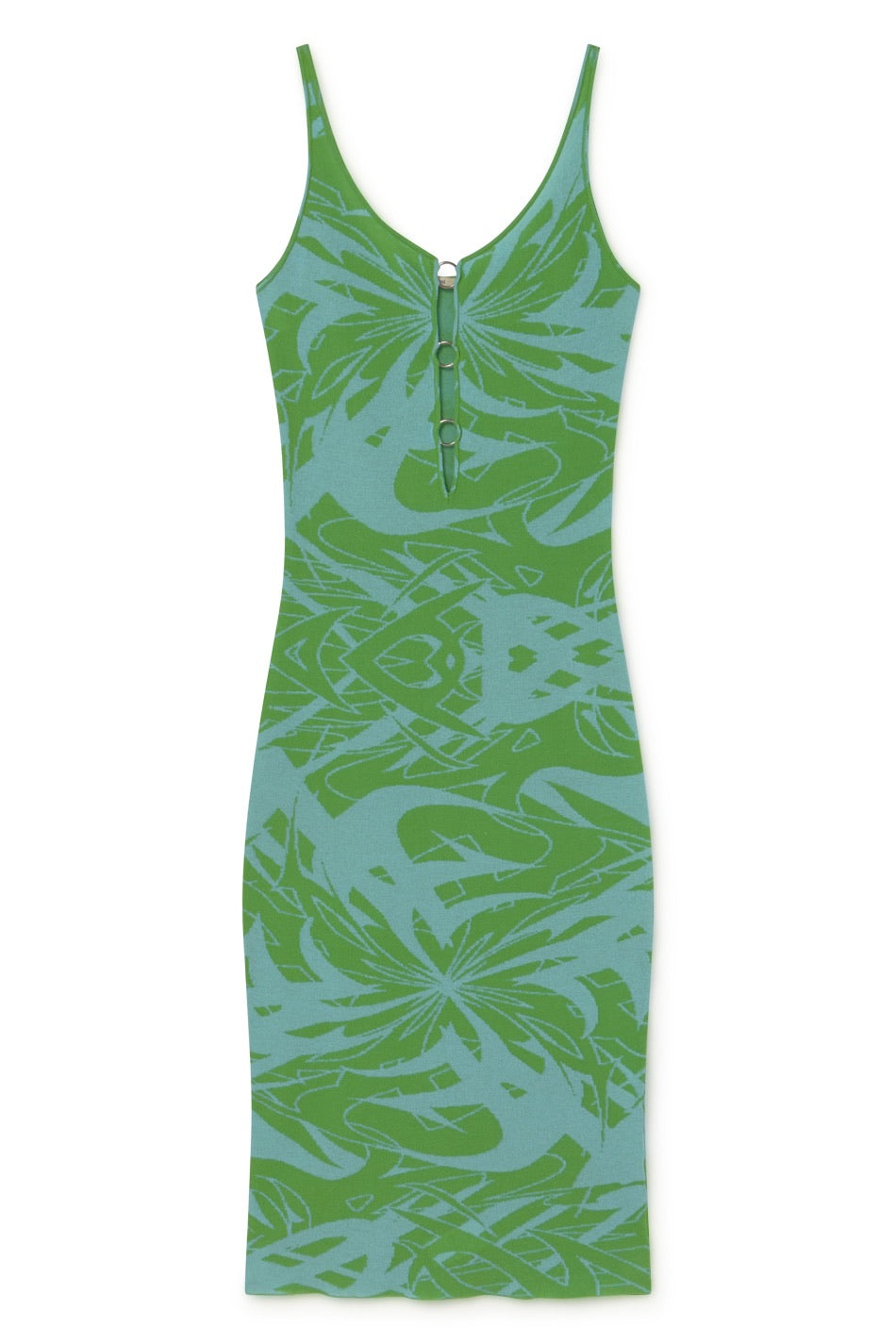 Scorpia Flash Print Knit Dress - Light Blue & Green