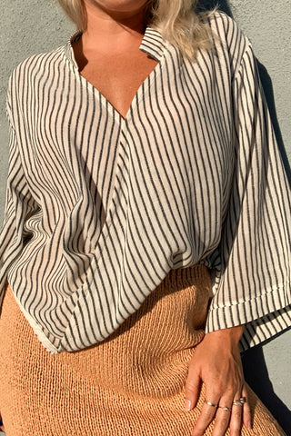 Sade Striped Top - Black Stripe