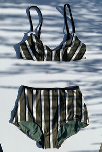 The Brigitte Bikini Bottom Solid & Striped Swimwear - Olive, cream & black stripe