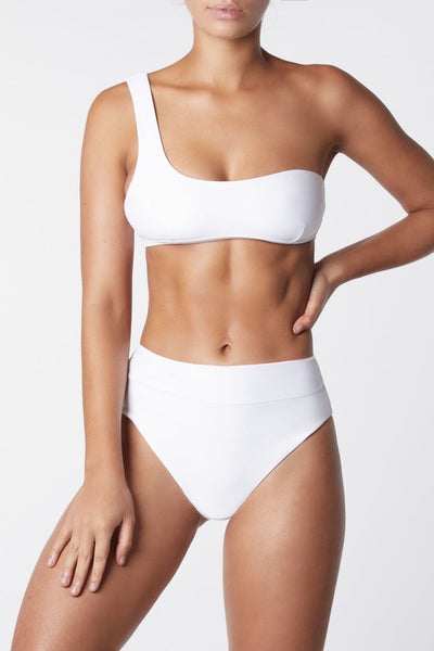Asymmetric One Shoulder Bikini Top - White
