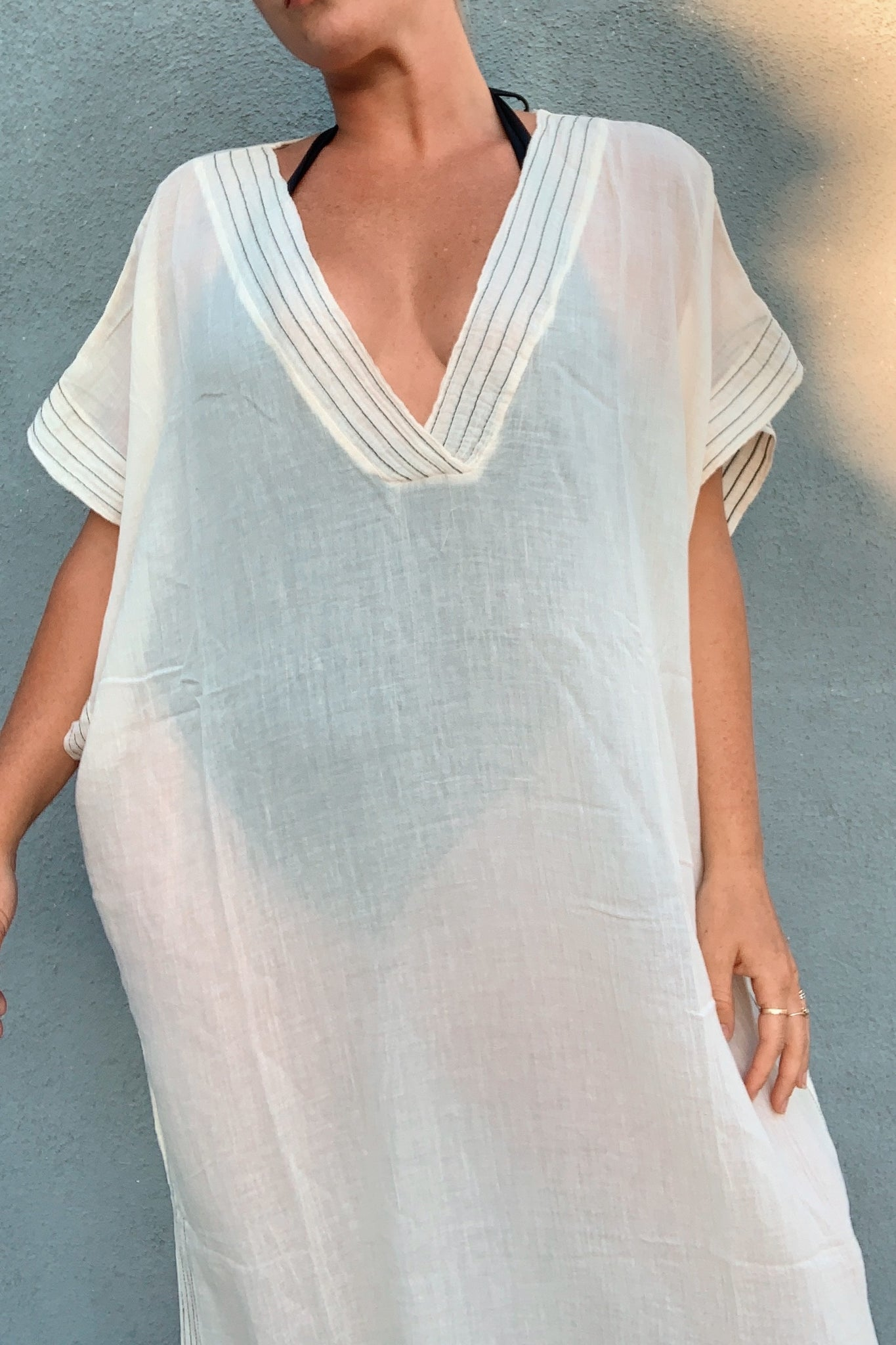 Ela Full Length Caftan - White