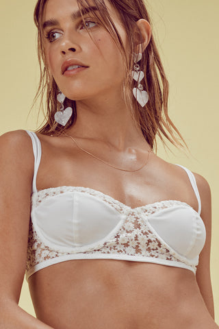 FOR LOVE AND LEMONS Lolita High Waist Bikini  Ivory Lace