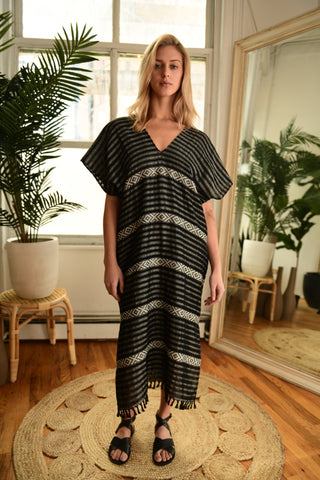 WAX + CRUZ  Maxi XO Caftan in Black and White