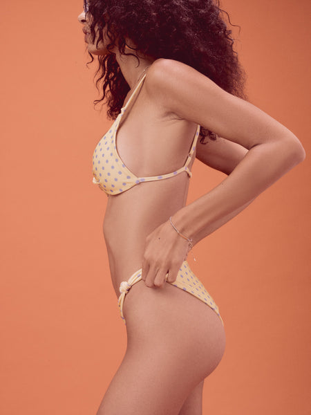 FOR LOVE & LEMONS Limoncello Bikini Bottom Yellow & Blue Polka Dots