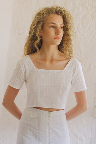 PALOMA WOOL | Lenna Crop Button Top - White