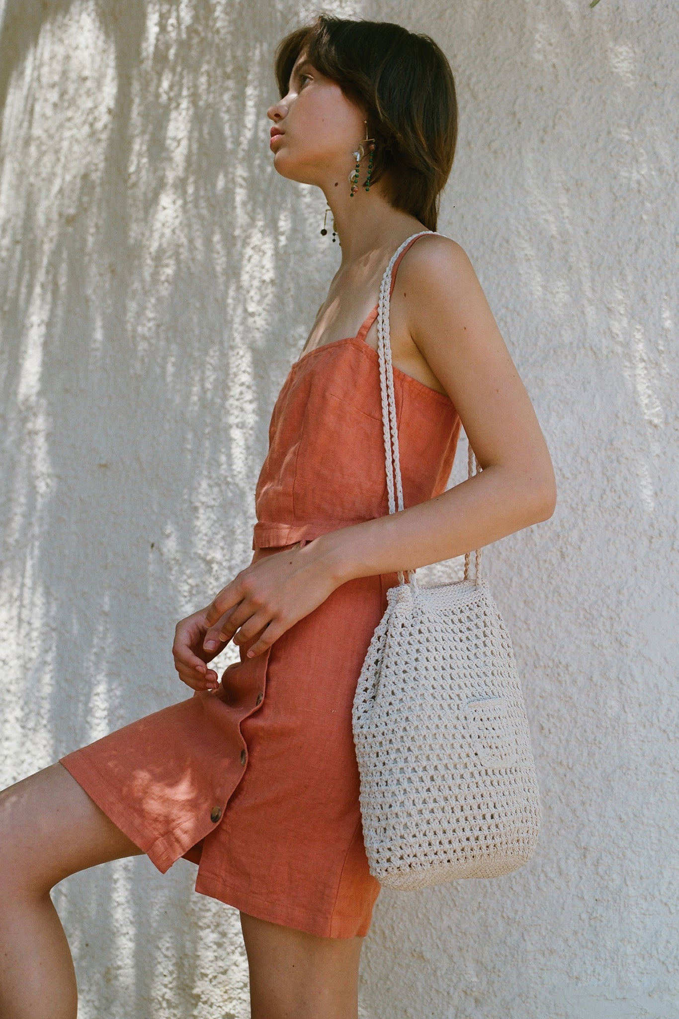 PALOMA WOOL Lubna Linen Button Down Skirt Coral