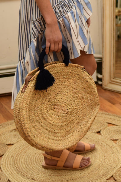 BAIAE Moroccan Roundie Palm Leaf Bag in Natural