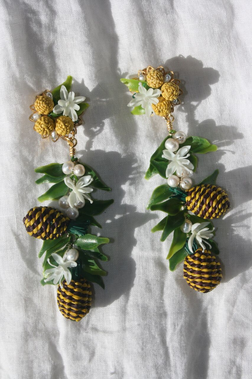 MERCEDES SALAZAR Pineapple Clip On Earrings Yellow