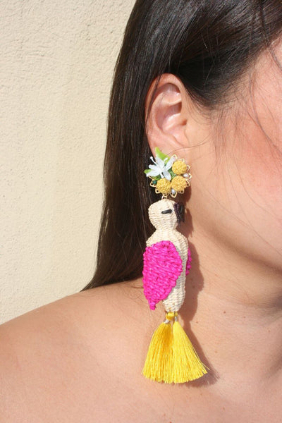 MERCEDES SALAZAR Parrot clip on Earrings Pink & Yellow