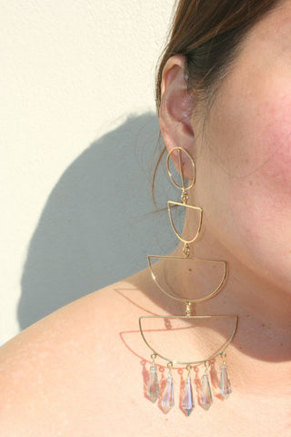 MERCEDES SALAZAR | Crystal Cascade Earrings - Gold
