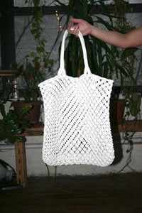 The beach people macrame cotton cord tote bag ivory