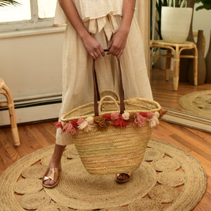 BAIAE | Pompom Palm Leaf Basket Tote - Warm