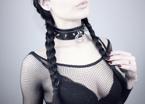 Restless Mind Choker Hekate silver Leather Choker