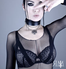 Restless Mind Choker Baphomet Leather Choker