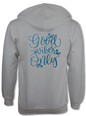 'Good Vibes Only' Zip-Up Hoodie - Arete Leotards
