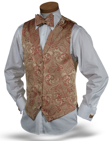 Gold & Red Paisley Vest Set