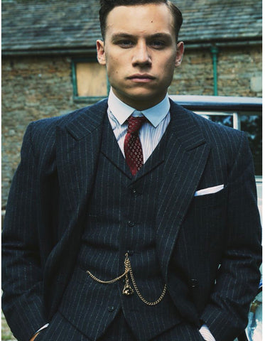 Mens Peaky Blinders Michael Gray 1920s Vested Pinstripe Suit