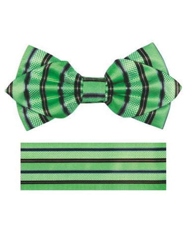 Apple Green & Black Stripe Bow Tie