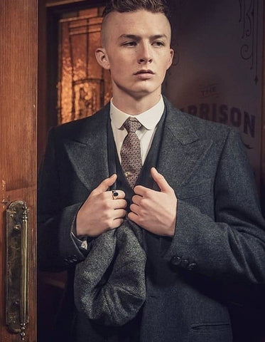 Mens Peaky Blinders Finn Shelby Vested Charcoal Suit & Overcoat