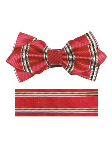 Red Rope Stripe Bow Tie Set