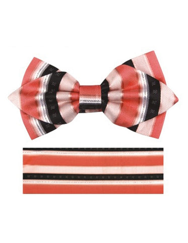 Coral & Black Bow Tie Set