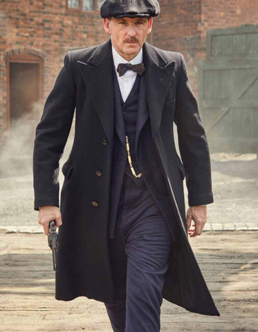 Mens Peaky Blinders Arthur Shelby Vested Suit with Overcoat & Hat