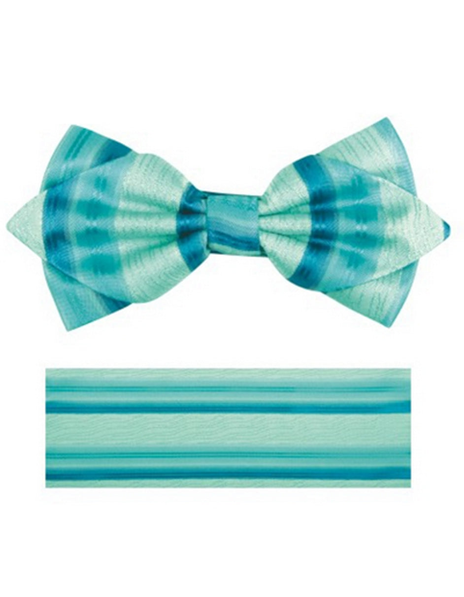 Aqua Stripe Bow Tie Set