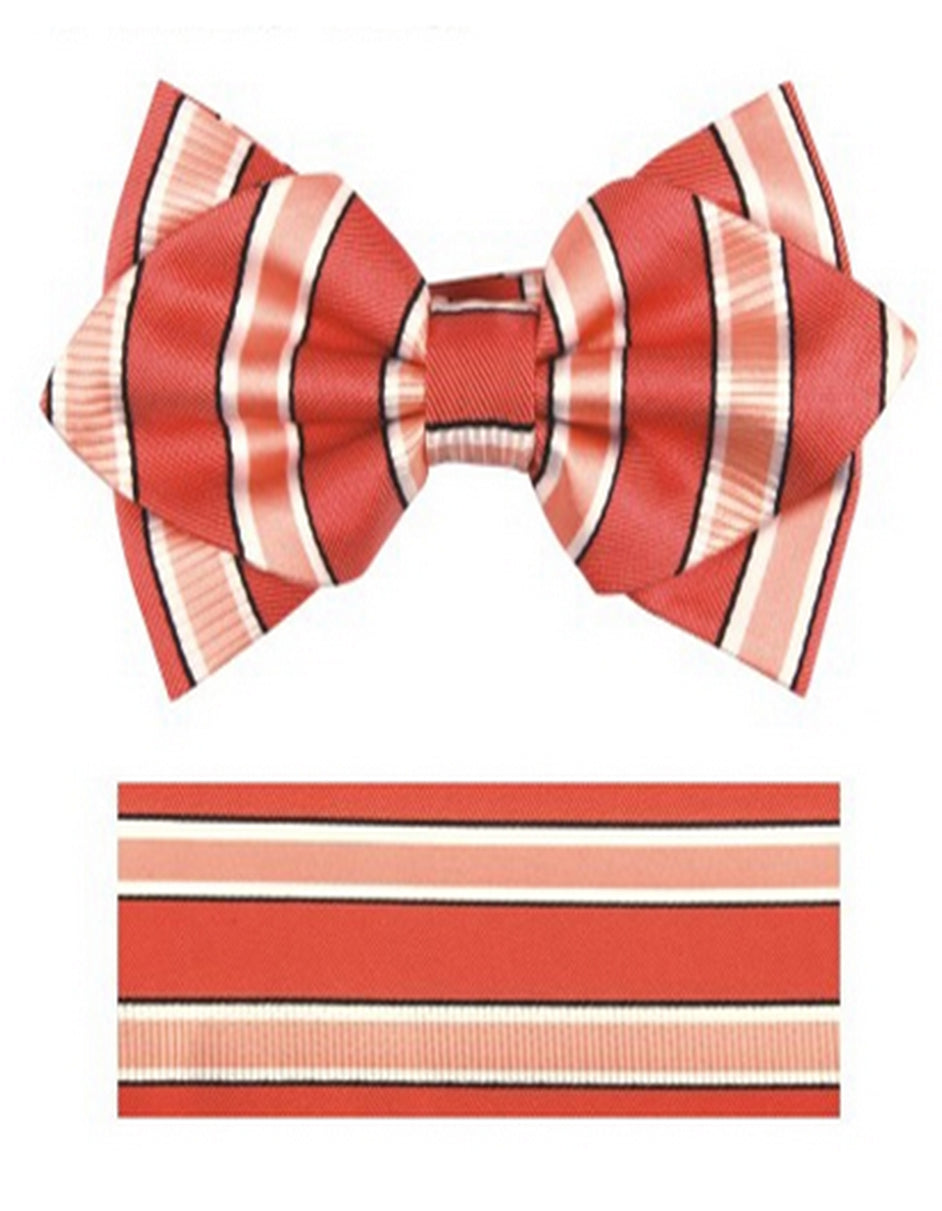 Melon Stripe Bow Tie Set