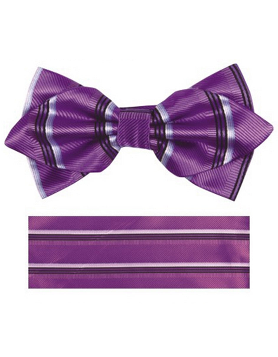 Purple & Black Bow Tie Set